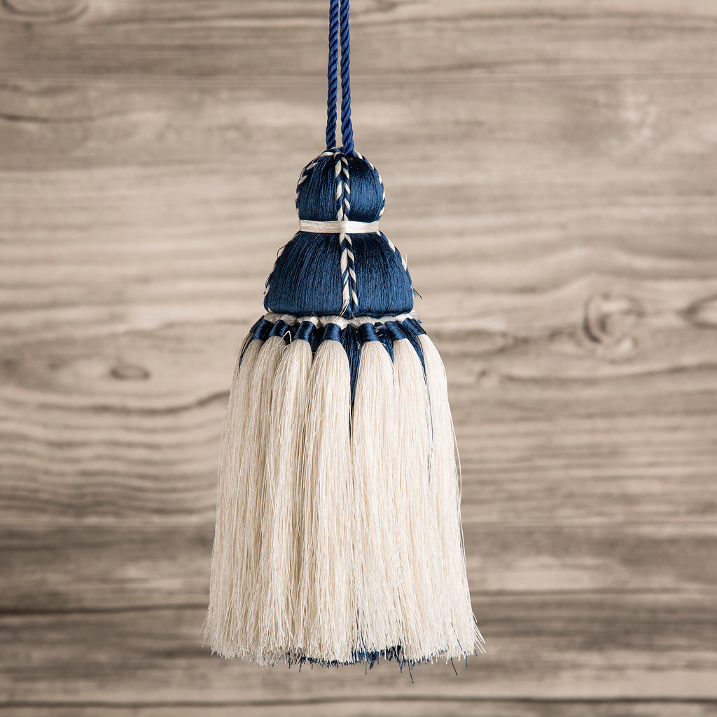 White & Navy Tassel, Trellis Home Tassels & Trims Collection with Pyar&Co.