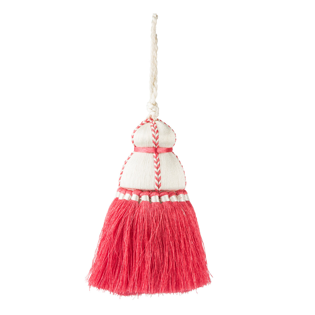 Less Than Perfect_SMALL Pink & White Tassel, Trellis Home with Pyar&Co. Tassel Collection