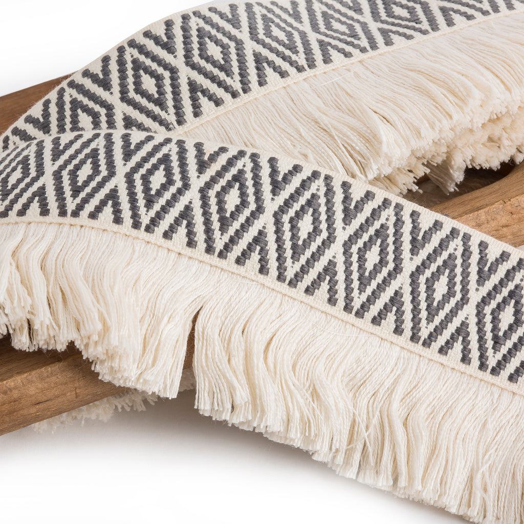 Gray Diamond Trim with Fringe by Trellis Home with Pyar&Co.