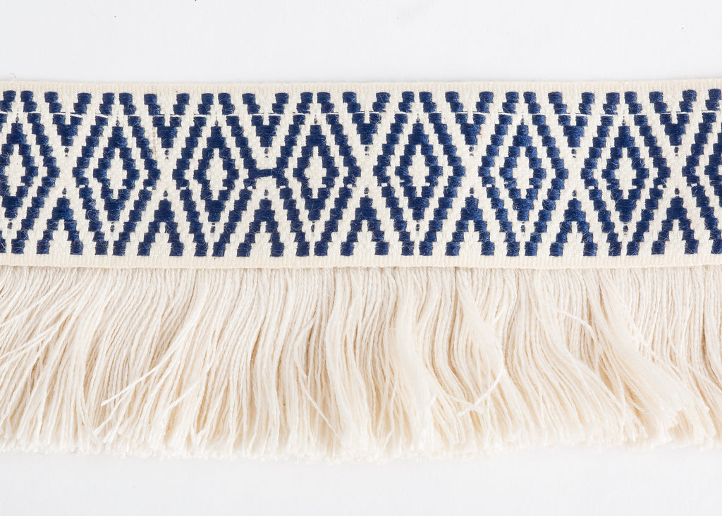 Diamond Navy with Fringe by Trellis Home with Pyar&Co.