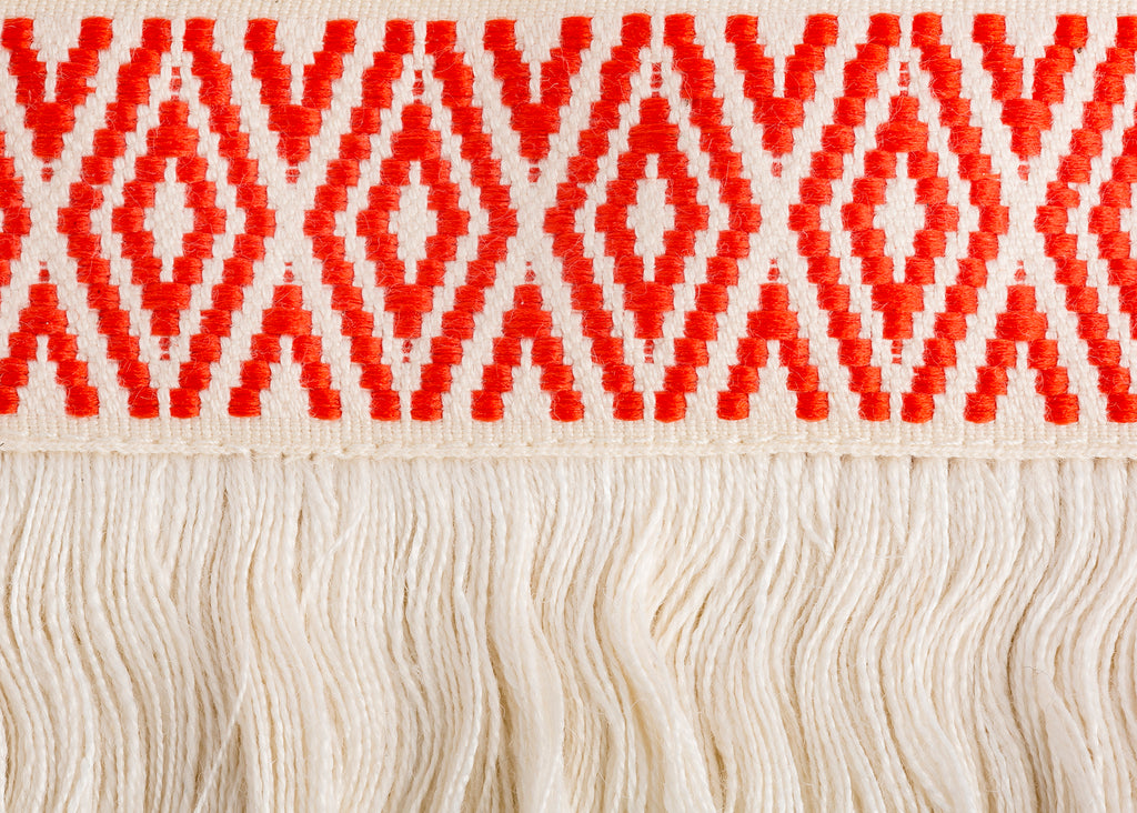 Deep Orange Diamond Trim with Fringe by Trellis Home with Pyar&Co.