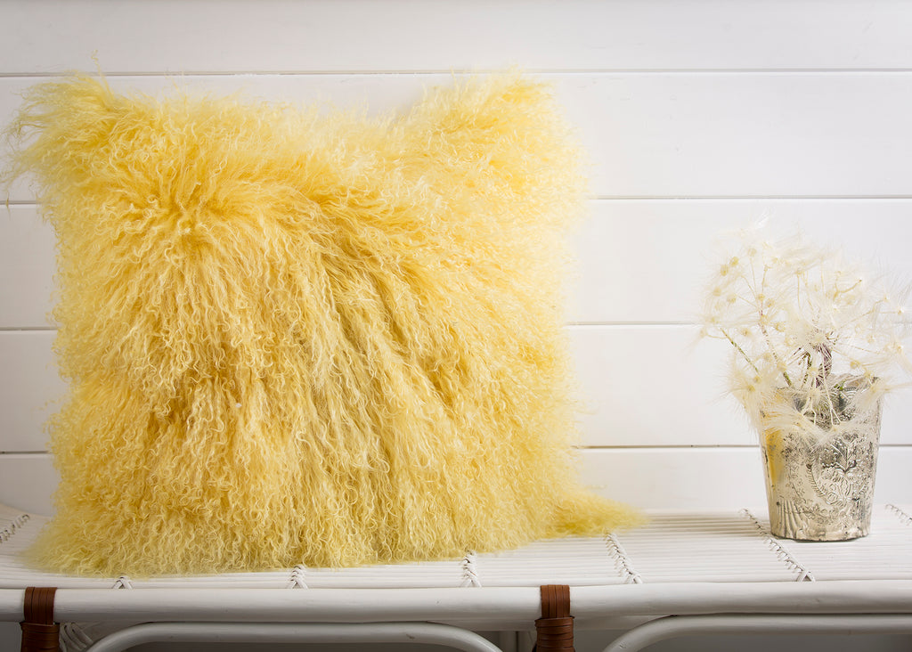 MONGOLIAN FUR, YELLOW Pillow - Cover Only