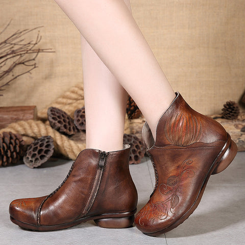 Genuine Leather Floral Round Toe Platform Boots
