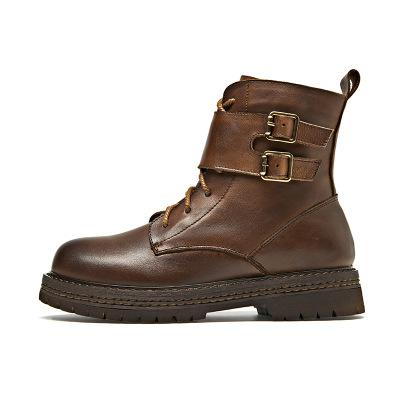 Genuine Leather Buckle Strap Martin Boots