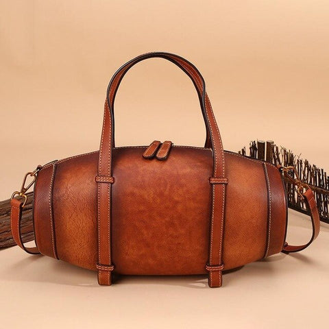 Genuine Leather Vintage Bucket Tote Bag