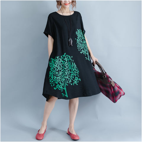 Korean Black Tree Dress