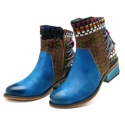 Genuine Leather Bohemian  Ankle Boots