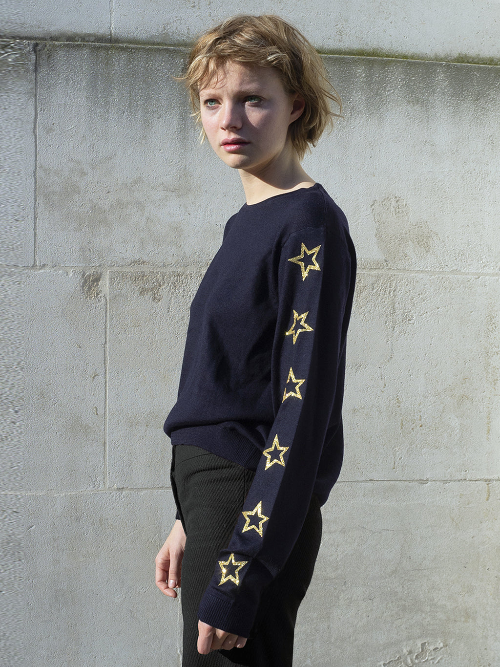MERINO STAR JUMPER BLUE/GOLD