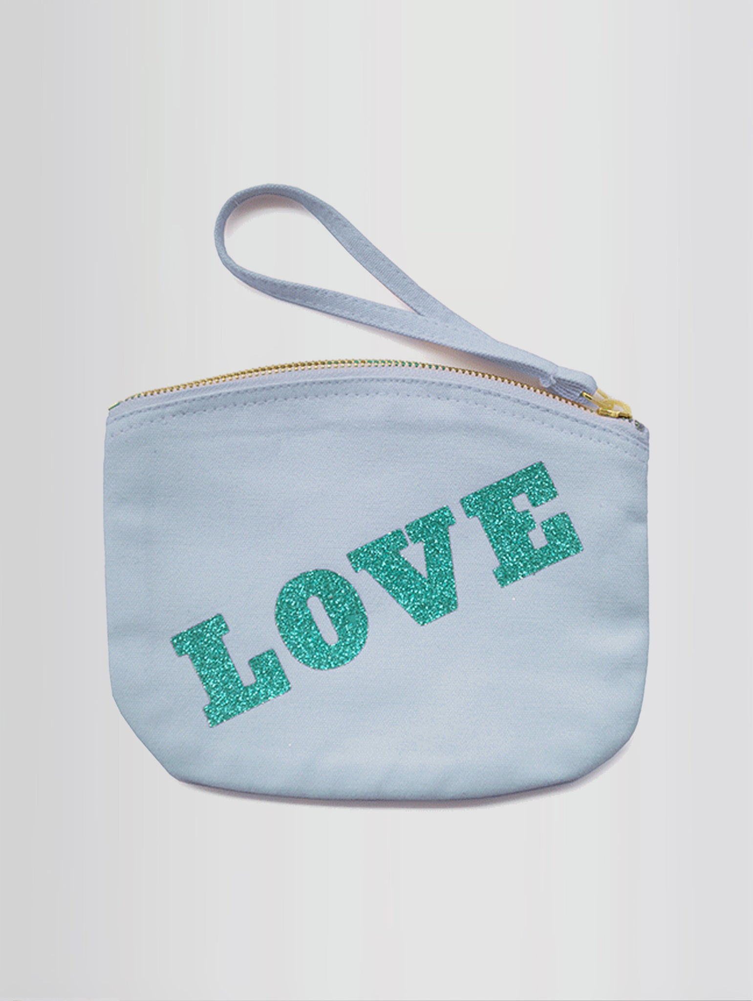LOVE CLUTCH BAG IN PINK OR BABY BLUE