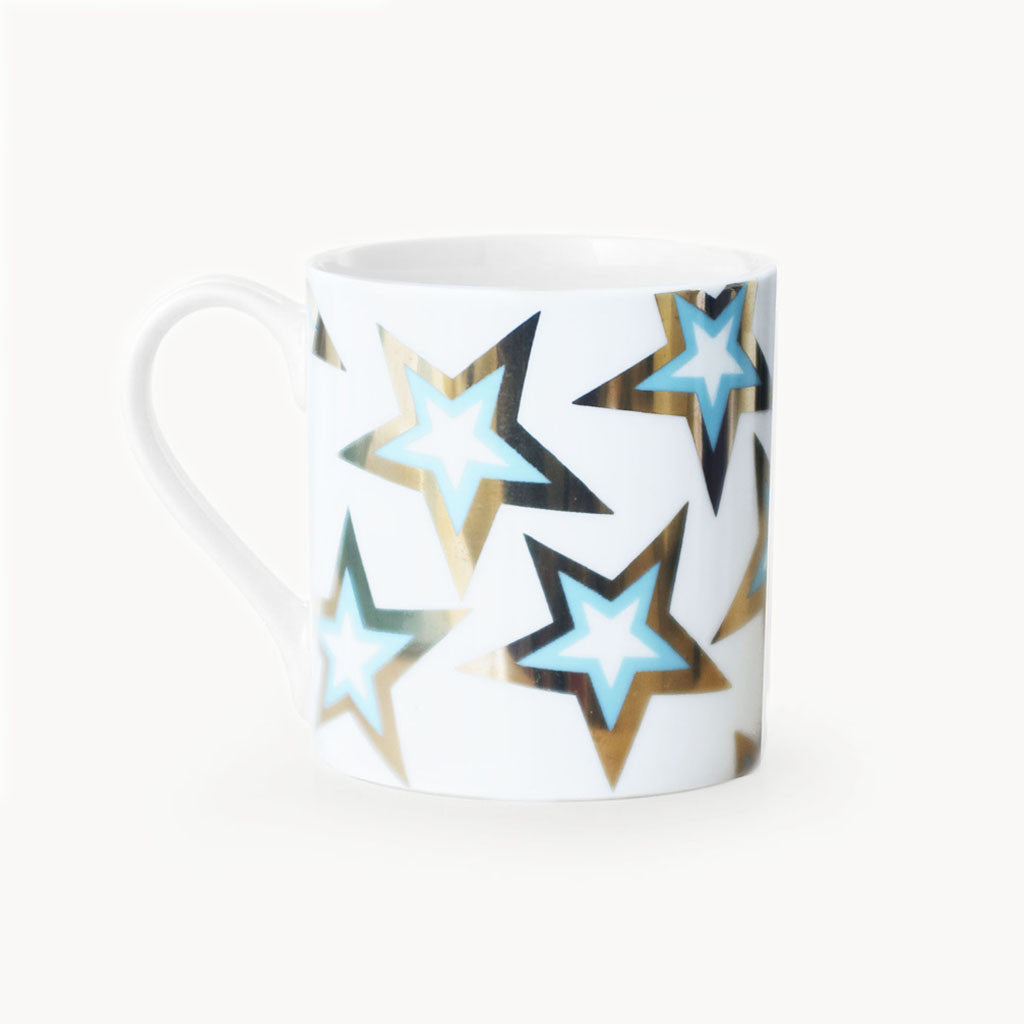 GOLD BLUE FLASH STARS MUG - Dandy Star