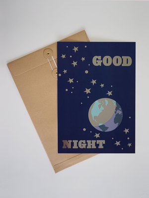 GOOD NIGHT A4 SILVER FOIL PRINT