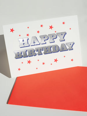 DANDY STAR HAPPY BIRTHDAY GREETING CARD - RED