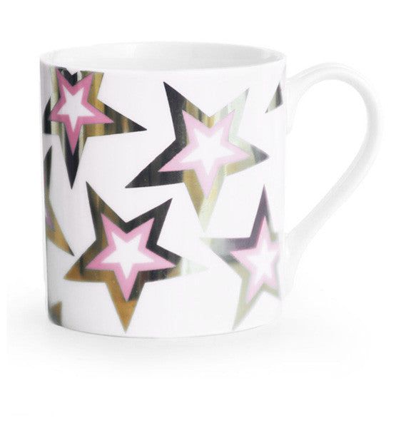 GOLD PINK FLASH STARS MUG