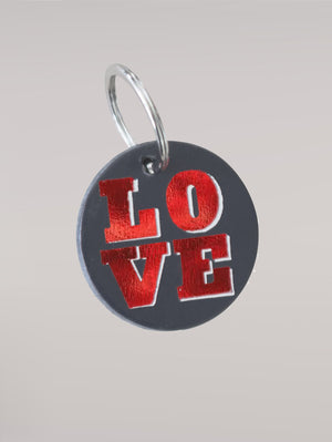 DANDY STAR LOVE DARK LEATHER KEY RING