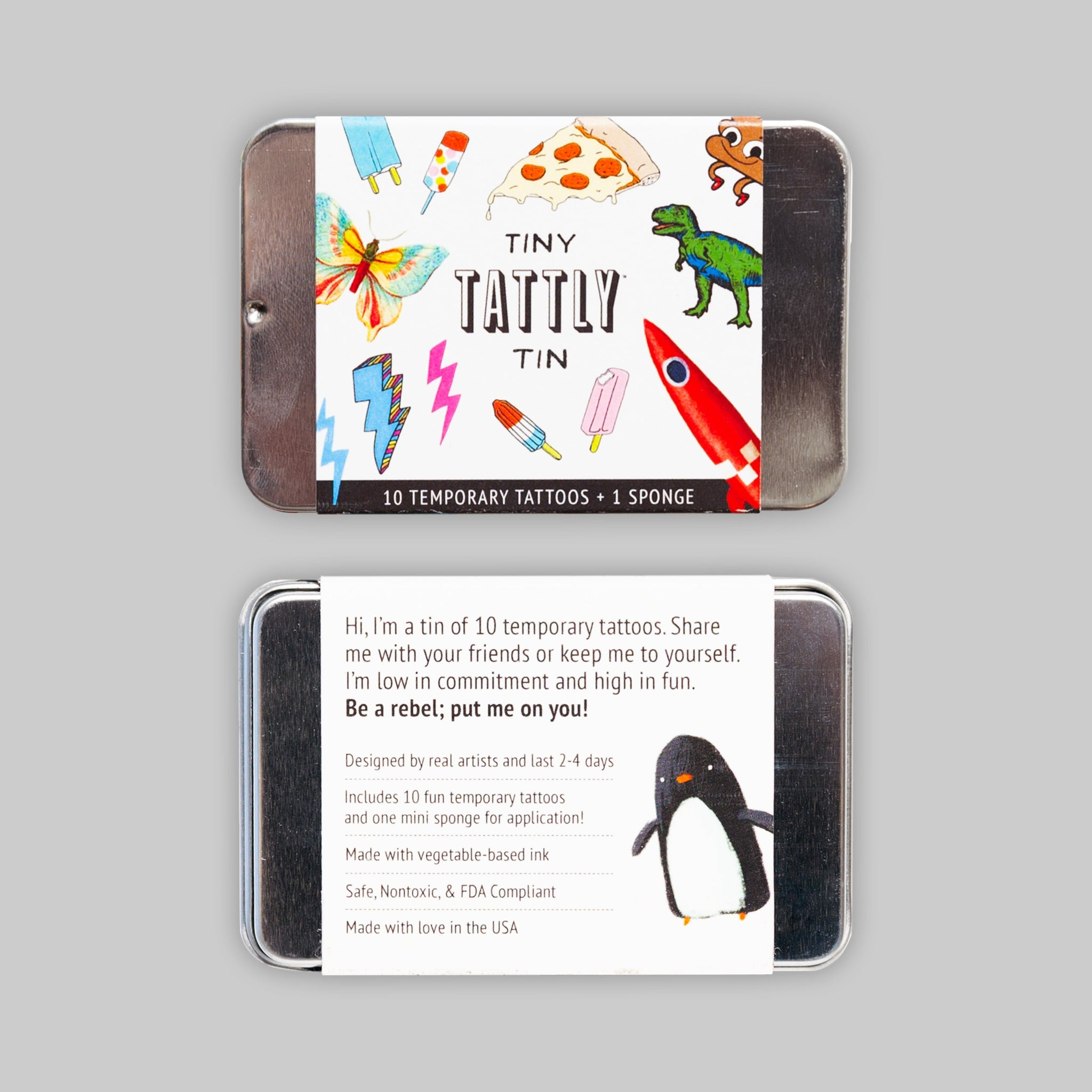 THE TINY FUNNER TIN X10 TATTOOS + SPONGE