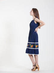 Vintage Flower Dress in Blue - Size 4/6