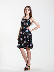 Vintage Black Floral Smock Dress - Size 8