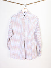 Vintage Salvatore Ferragamo Blue and Brown Plaid Dress Shirt