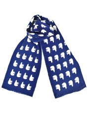 Mini Wool Polar Bear Scarf - Blue