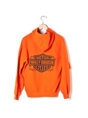 Vintage Harley Davidson Orange Hooded Sweatshirt - Size M