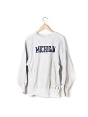 Vintage Michigan Light Grey Crew Neck Sweatshirt - Size XL