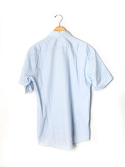 Vintage Halston Light Blue Short Sleeve Dress Shirt Size 16