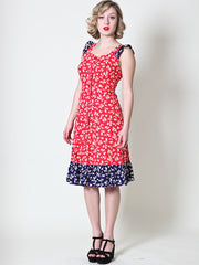 Vintage Red Floral Dress With Navy Floral Contrast - Size 6