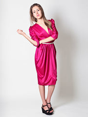 Vintage Cocktail Dress in Fuchsia With Ruffle Details -  Size 11/12