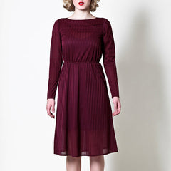 Vintage Long Sleeve Dress in Burgundy