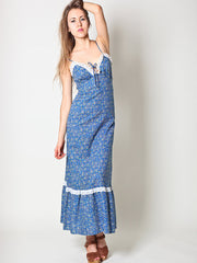 Vintage Maxi Dress in Blue Floral by Sears
