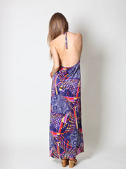 Vintage Psychedelic Print Maxi Halter Dress in Navy - Size XS