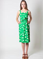 Vintage Daisy Print Dress in Green
