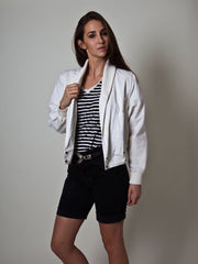 Vintage Woman's Cotton Biker Jacket in White by Jousse Paris