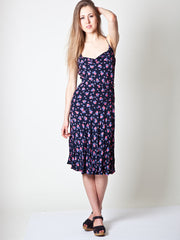 Vintage Floral Print Cowl Neck Dress