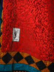Vintage Yves Saint Laurent YSL Red Silk Scarf - size XL