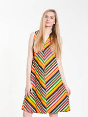 Vintage Colorful Striped Mini Dress