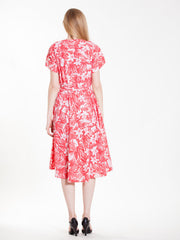 Vintage Tropical Red Flowers Dress