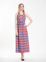 Vintage Halter Dress with Navy and Red Plaid Print