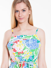 Vintage Spaghetti Strap Dress with Colorful Flowers Print