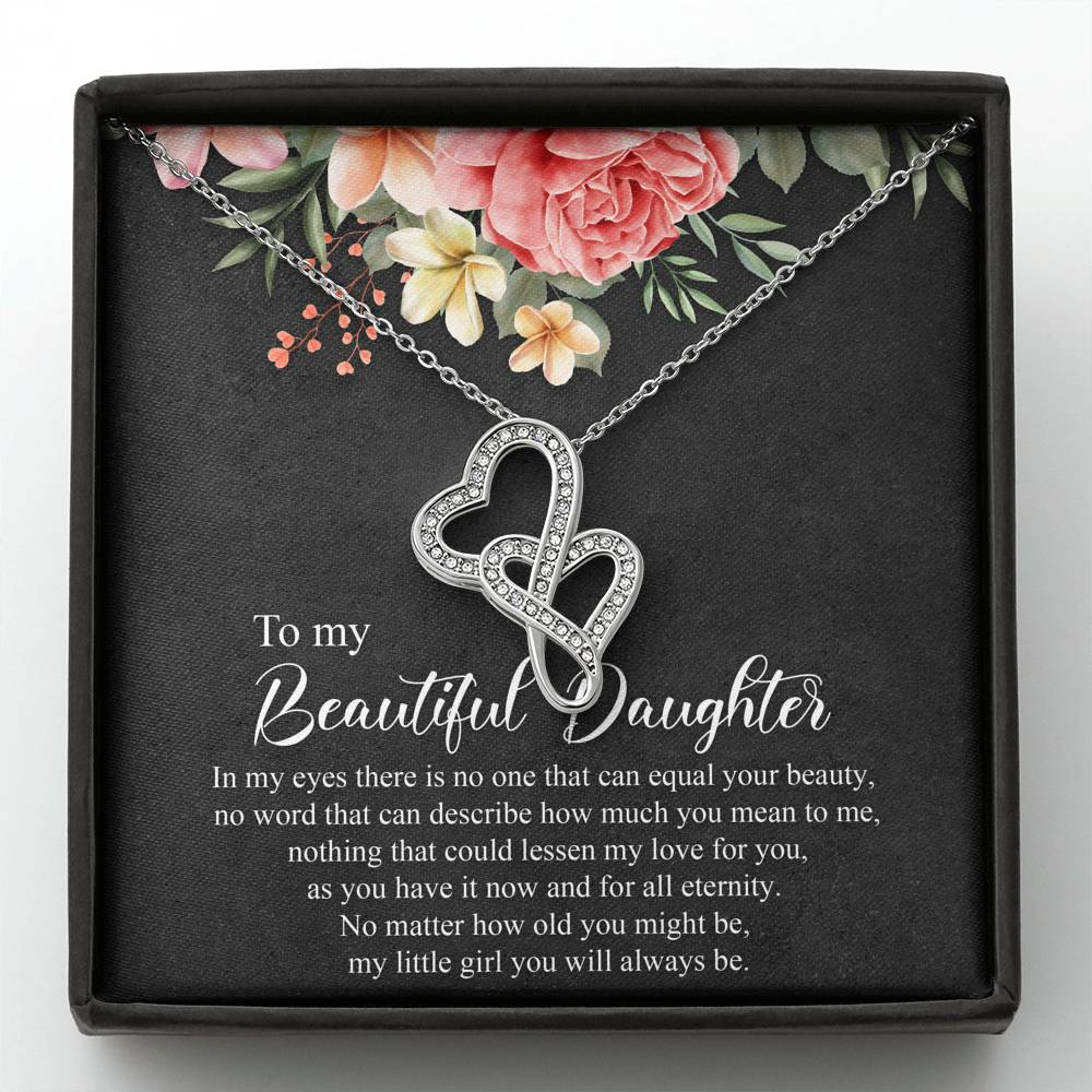 To My Beautiful Daughter - Double Hearts NecklaceJewelry - Unique Orchid