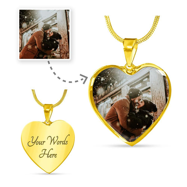 Personalized Photo - Heart Necklace (Perfect Valentine Gift)Jewelry - Unique Orchid