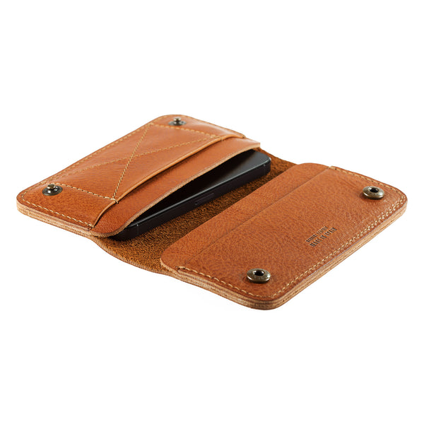 Leather Phone Wallet in Cuoio