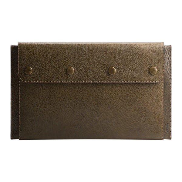 "Leather MacBook Air 11"" Portfolio in Olive Green"