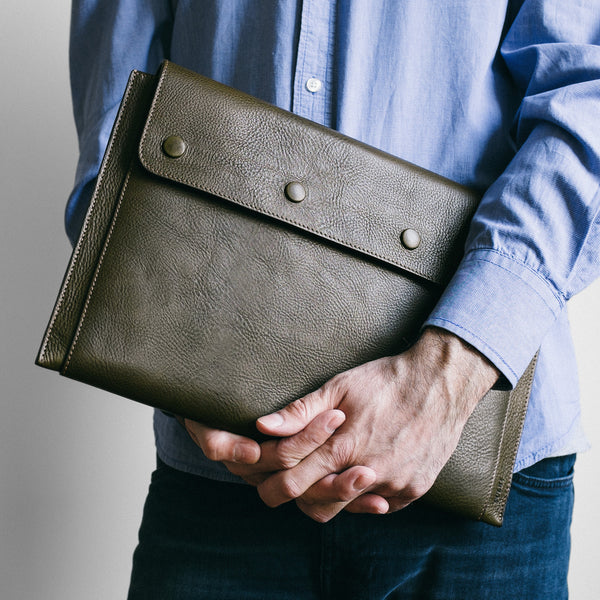 "Leather MacBook Air 13"" Portfolio in Olive Green"