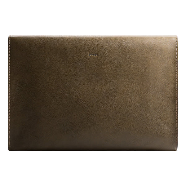 Leather MacBook Pro Portfolio in Olive Green