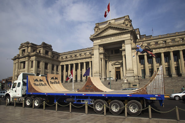 BMX Rider Daniel Dhers Performs Tricks On Moving Trucks in Peru