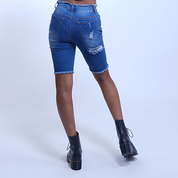 Hi-Waist Distressed Denim Shorts