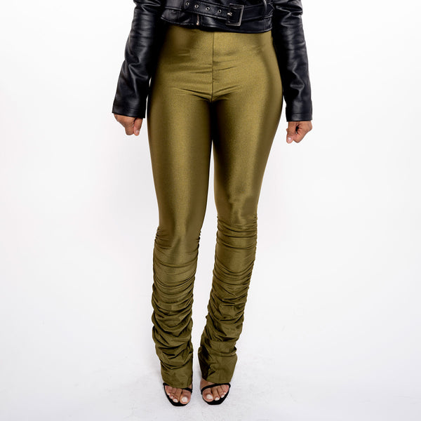 SHINY STACKED RUCHED LEGGINGS