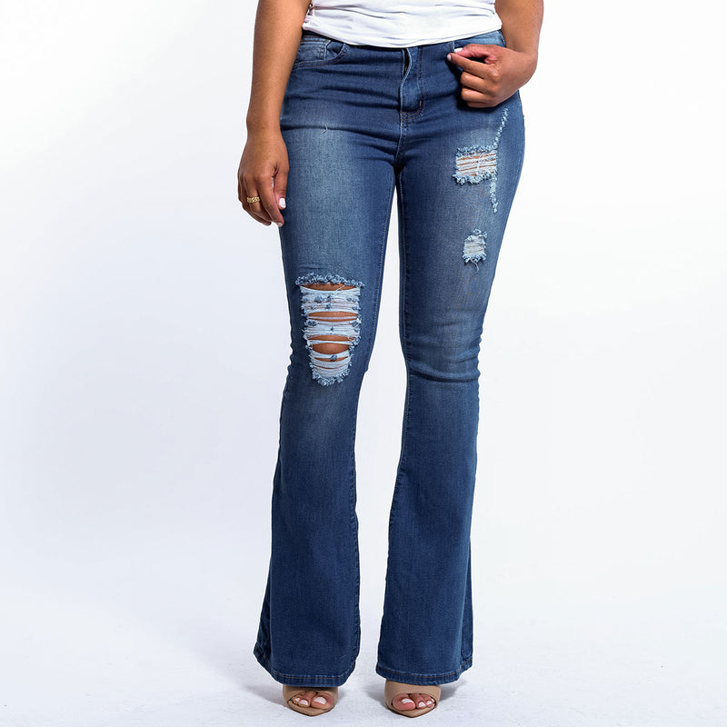 Distressed Flare Denim Jean