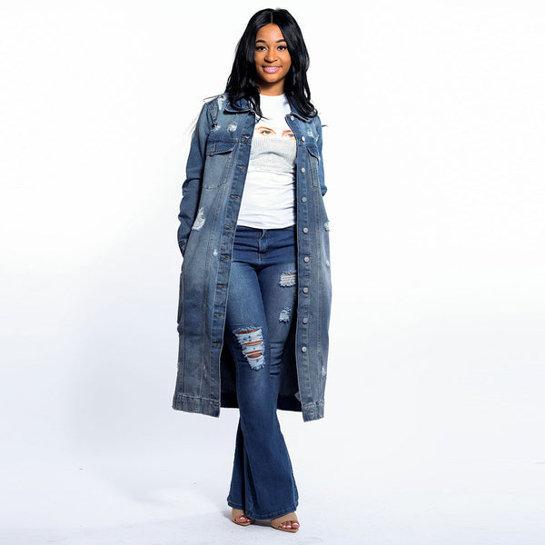 Distressed Long Denim Jacket